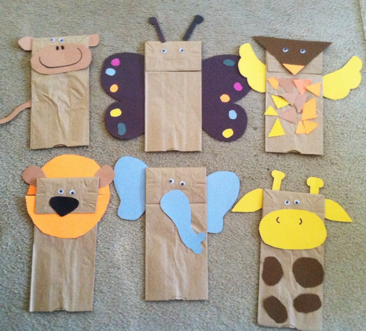 Brown paper bag jungle animal puppets
