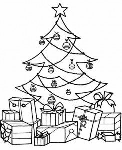 Christmas-Tree-With-Gift-Coloring-Page