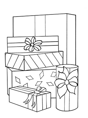 coloring pages christmas presents 2 - Christmas Present Coloring Pages 2