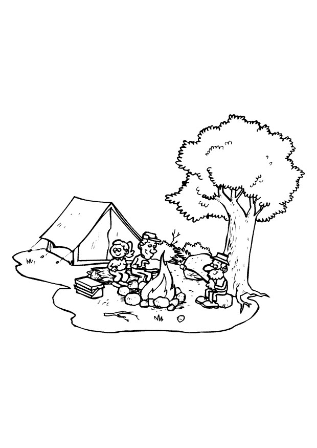 Preschool camping coloring pages for Camping coloring pages for preschoolers