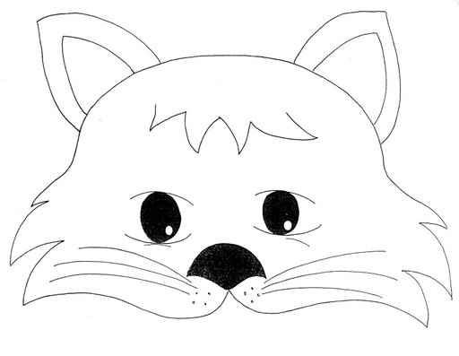 Cat Mask Coloring Page 1