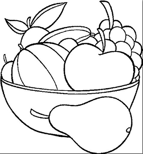 Fruit Plate Coloring Page