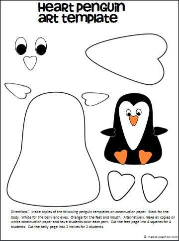 Heart Penguin Craft With Template