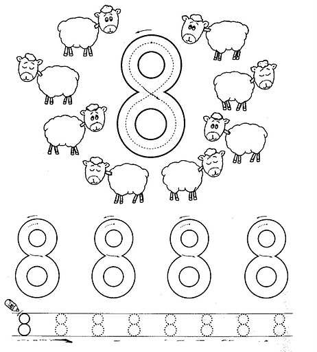 Number 8 ( eight) tracing and coloring worksheets | Crafts and ...