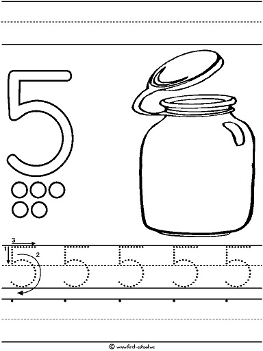 Number 5 Five Tracing And Coloring Worksheets