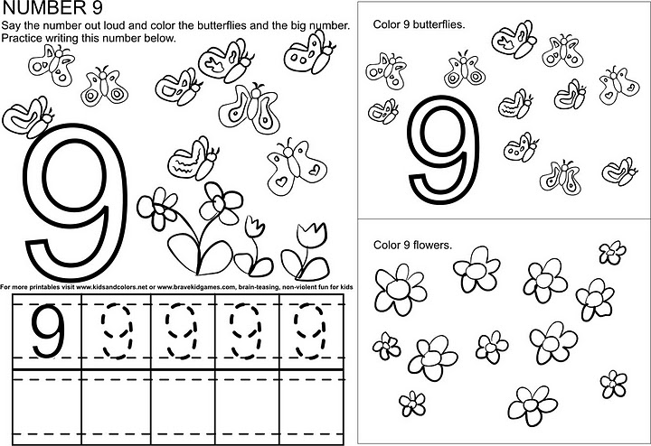 CraftsActvities and Worksheets for PreschoolToddler and Kindergarten – Number 9 Worksheet