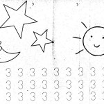 number three coloring and tracing worksheets (15)