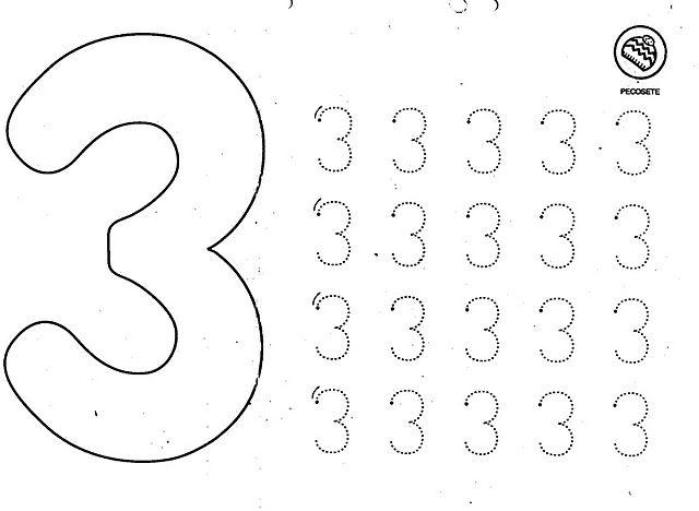 number three coloring and tracing worksheets (20)