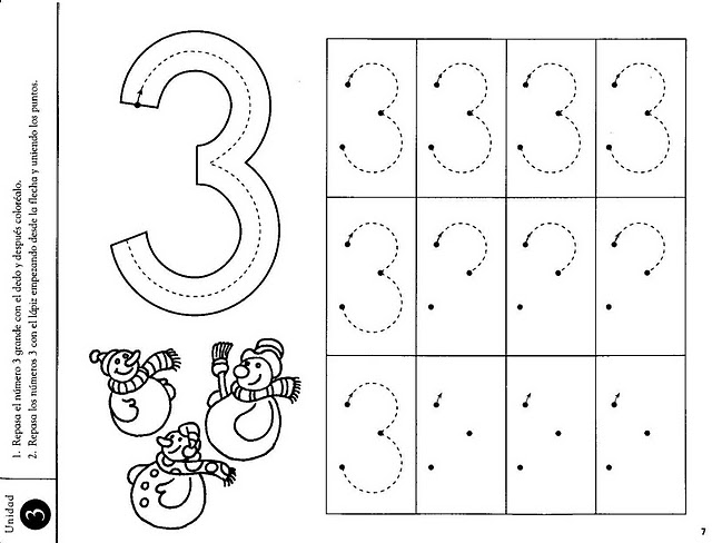 Number 3 Worksheets : All worksheets number for toddlers