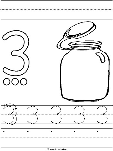 Number 3 Three Tracing And Coloring Worksheets