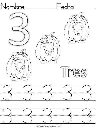 Number 3 ( three ) tracing and coloring worksheets | Crafts and ...