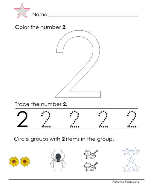 number two tracing and coloring worksheets  (4)