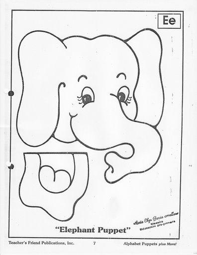 paper bag elephant craft pattern