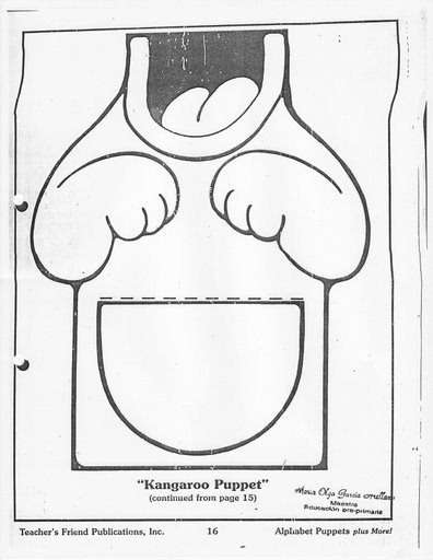 Crafts actvities and worksheets for preschool toddler and for Kangaroo puppet template