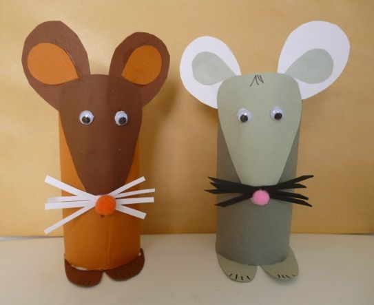 paper roll mouse craft