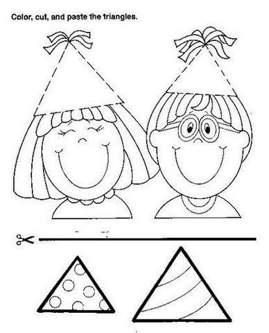 math worksheet : triangle worksheets for preschool  trace and color  crafts and  : Triangle Worksheets For Kindergarten