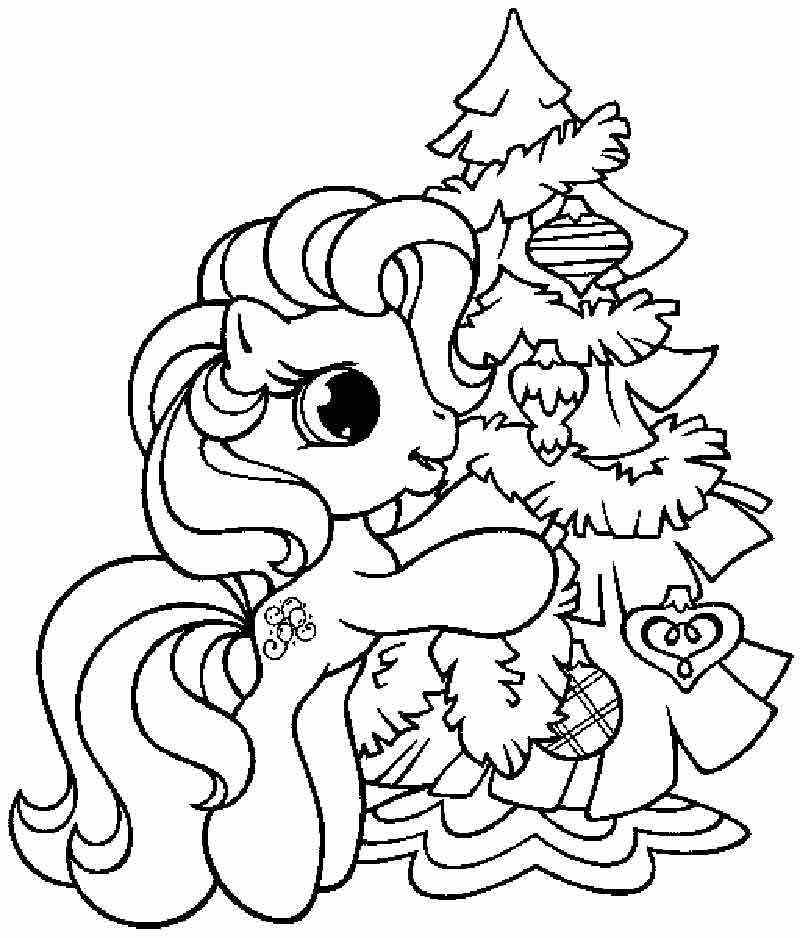 Printable Coloring Book Pinkie Pie And Christmas Tree Pages Disney