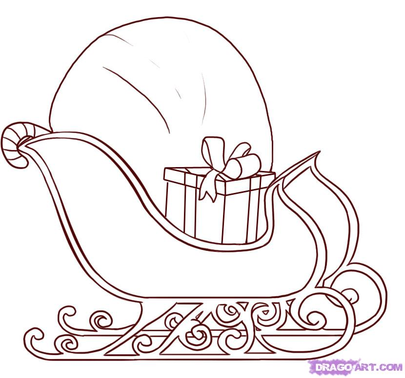 sled coloring page free