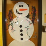 snowman door with lights