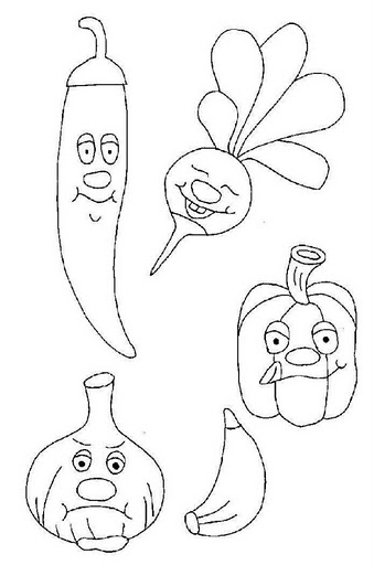 Lots Of Vegetables Coloring Page For Kids