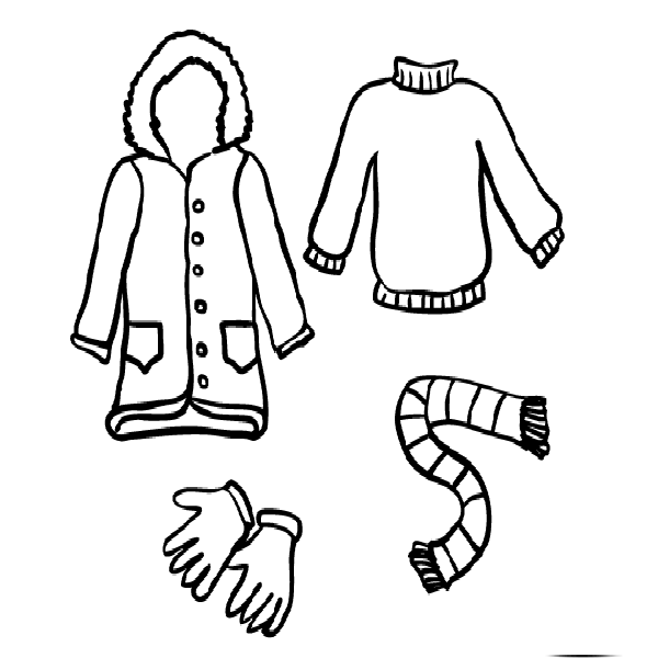 Winter clothes coloring pages crafts and worksheets for for Clothing coloring page