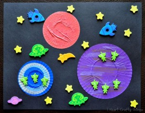 Cupcake Liner Foam Sticker Space Craft