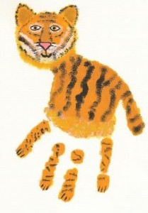 Hand print tiger