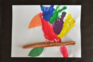 Handprint Footprint Parrot craft