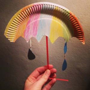 Kids craft paper plate umbrella