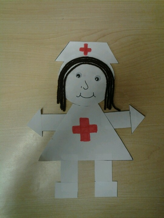 Nurse Shape Craft on preschool cut and paste worksheets
