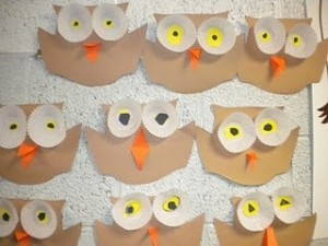 Owls with cupcake liner eyes
