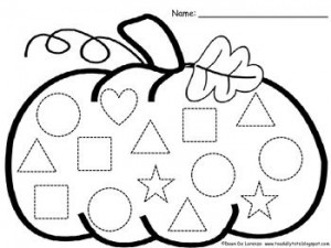 Shape Trace worksheet for preschool