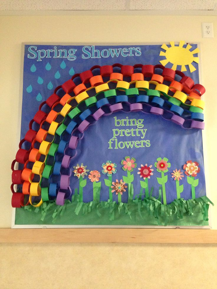 Spring bulletin board with rainbow