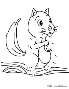 Squirrel dot to dot game printable