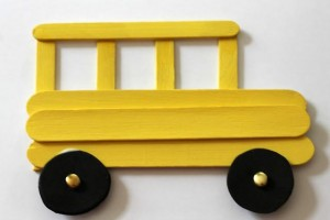 This craft stick school bus