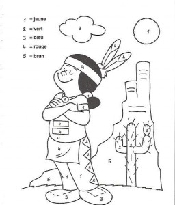 color by numbers indians worksheet (1)