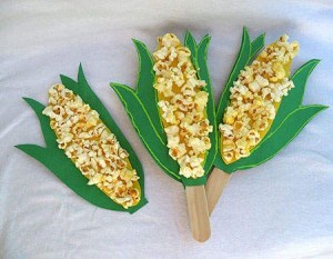 corn craft with popcorn