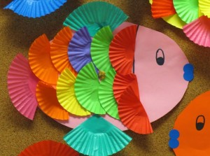 cupcake liner fish craft