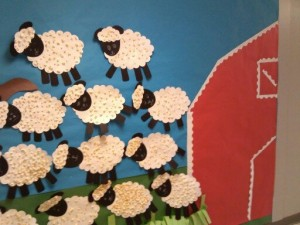 cute sheep or farm bulletin board