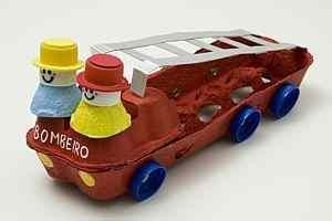 egg carton fire truck craft