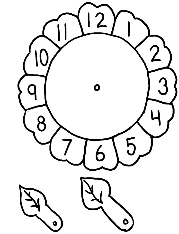 Flower Clock Craft on coloring pages for first day of
