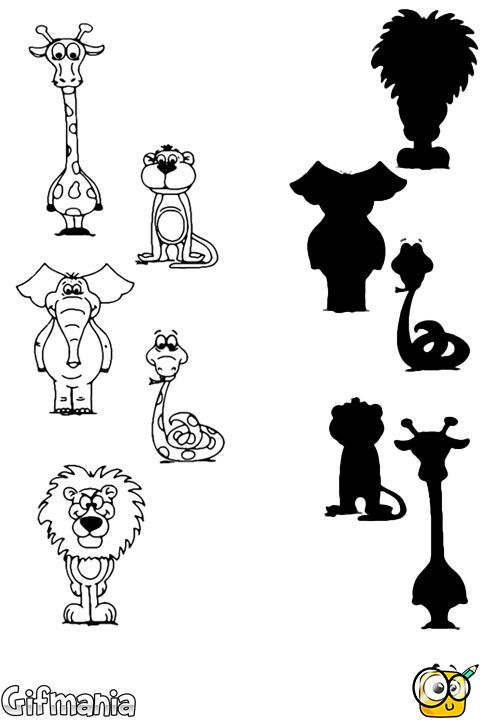 free printable animal shadow match worksheets