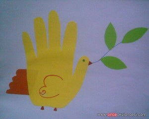 handprint dove craft for kids