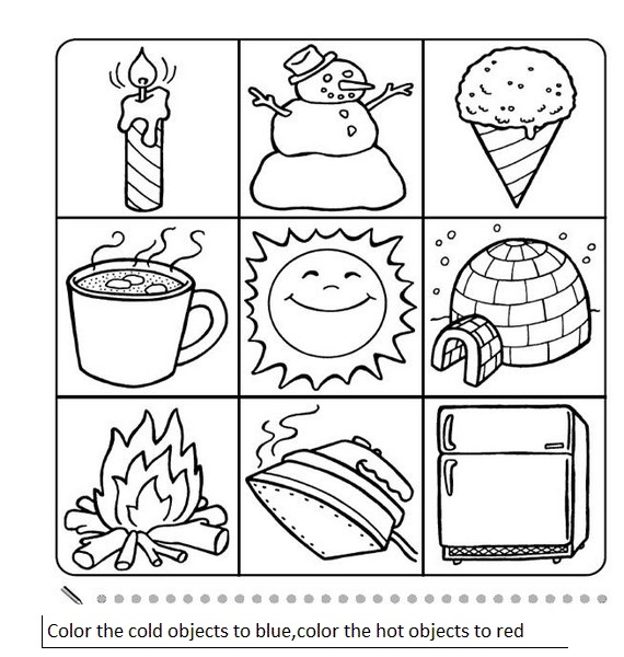 CraftsActvities and Worksheets for PreschoolToddler and Kindergarten – Hot and Cold Worksheets for Kindergarten