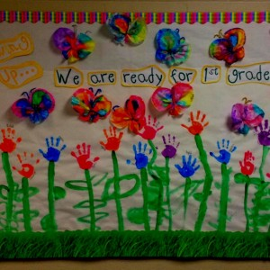 kindergarten bulletin board. Hand print flowers