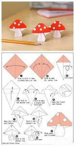 origami mushroom craft