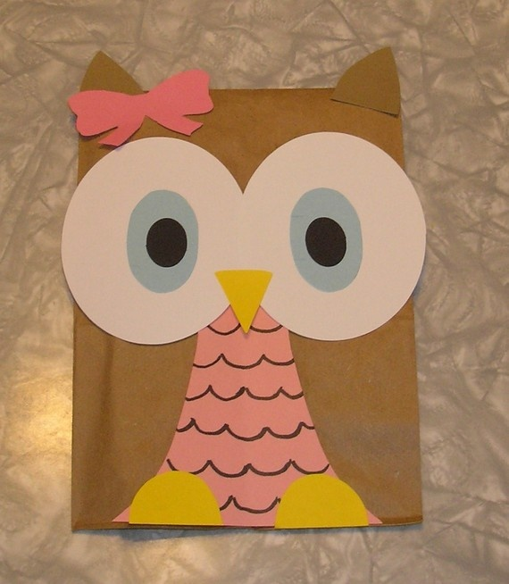 Kitchen Floor Crafts: Owl Paper Bag Puppets | 654x570