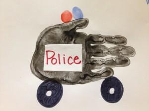 police car handprint