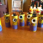 toilet paper roll and bottle cap minion craft