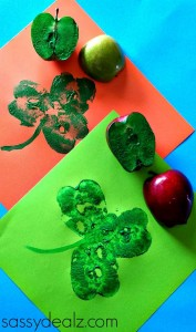 Apple Shamrock Stamp Craft for St. Patrick's Day